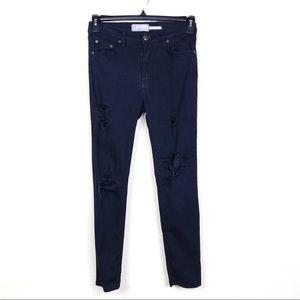 Free People Black Hi Rise Distressed Skinny Jeans